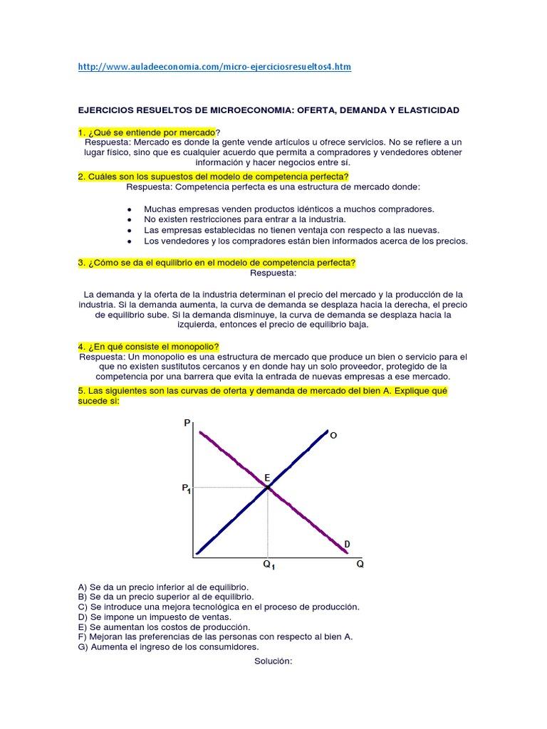 Ejercicios Ed Microeconomia | Oferta (economía