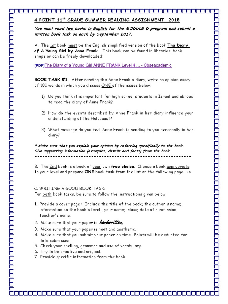 anaylsis of anne frank essay The diary of anne frank act ii essay questions risd short reports how to write routine technical documents jerz s on unit worksheets gcse english marked by teachers.