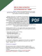 Noções de Lógica Matemática o Cálculo de Predicados de 1a Ordem