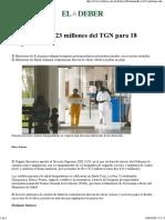 Destinan Bs 4.423 Millones Del TGN Para 18 Hospitales 20170409 0041