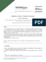 Waldschmidt M - Algebraic Values of Analytic Functions - J Comput. and Appl. Math. 160 (2003) 323-333