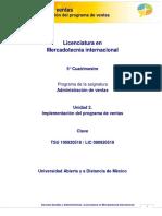 Administracioìn de Ventas-Unidad 2. Implementacion Del Programa de Ventas