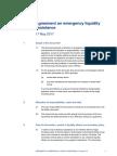 ECB's Emergency Liquidity Assistance agreement