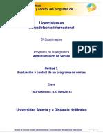Administracion de Ventas-Unidad 3. Evaluación y Control Del Programa de Ventas