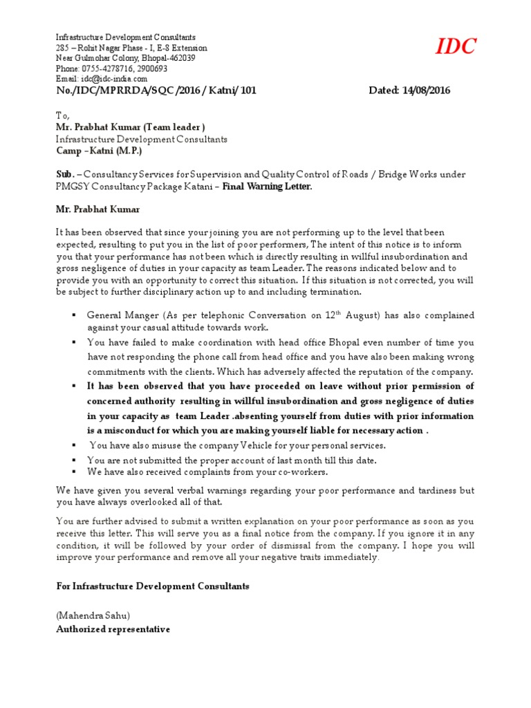 Format Of Termination Letter For Non Performance Choice Image Warning Letter  Format For Poor Performance Choice