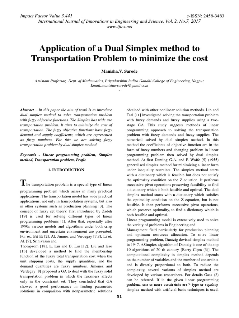 Application of a Dual Simplex method to Transportation Problem to
