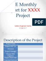 HSE Monthly Report for XXXX2 Project