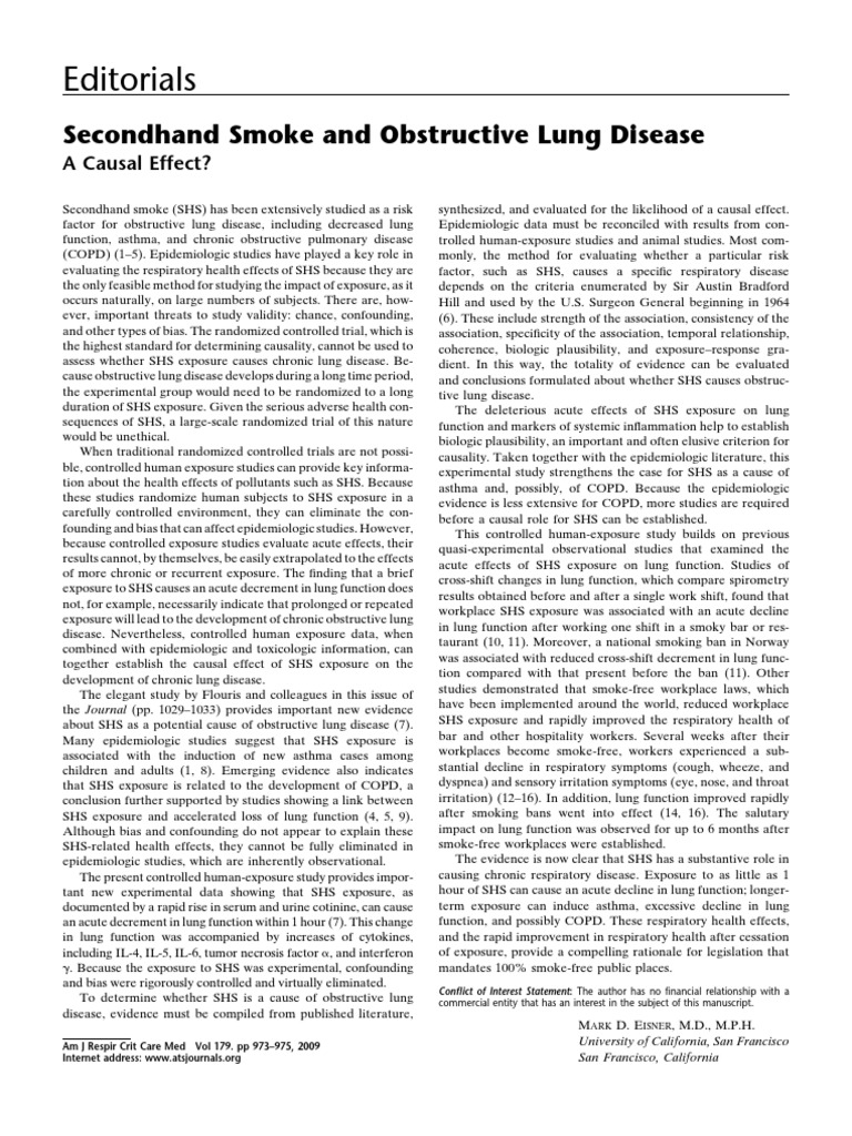 Editorials: Secondhand Smoke and Obstructive Lung Disease