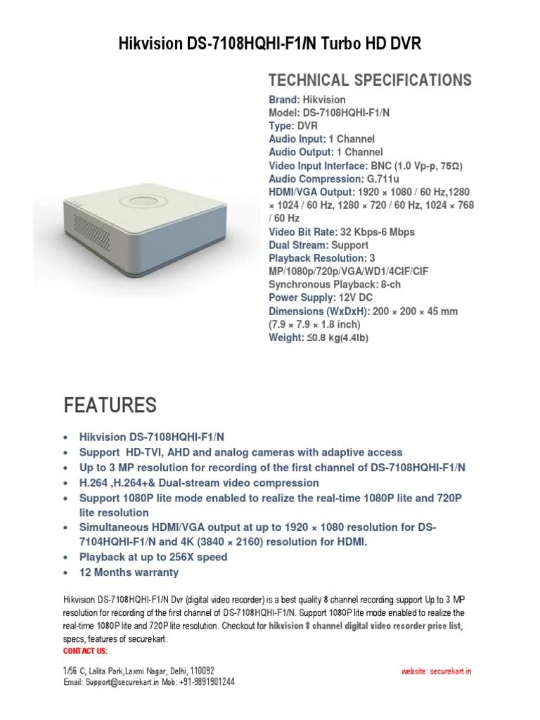Hikvision Turbo HD DVR 1080p Analog CCTV System DS-7108HQHI-F1/N ...