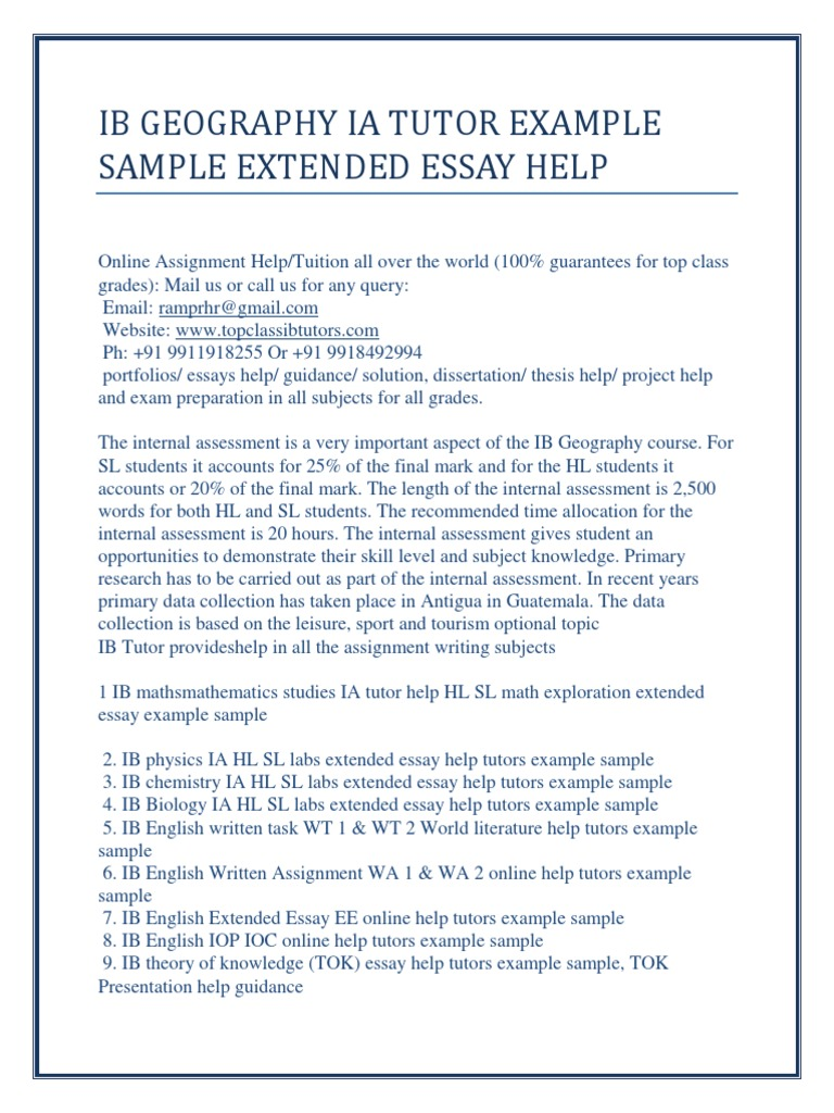 Geography Extended Essay Examples | Mistyhamel