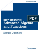 Next Generation Sample Questions Advanced Alegbra and Functions