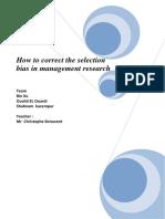 Benavent - How to Correct Selection Bias