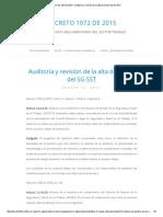 Decreto 1072 de 2015 » Auditoría y Revisión de La Alta Dirección Del SG-SST