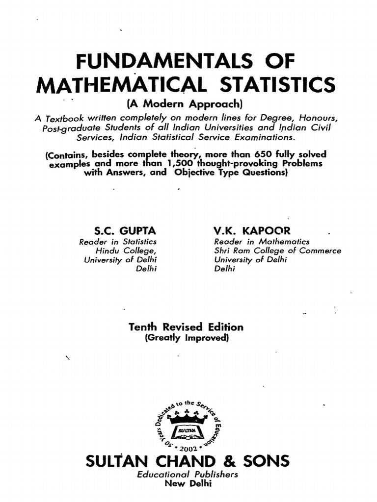 FUNDAMENTAL OF MATHEMATICAL STATISTICS-S C GUPTA & V K KAPOOR.pdf |  Probability Theory | Statistical Hypothesis Testing
