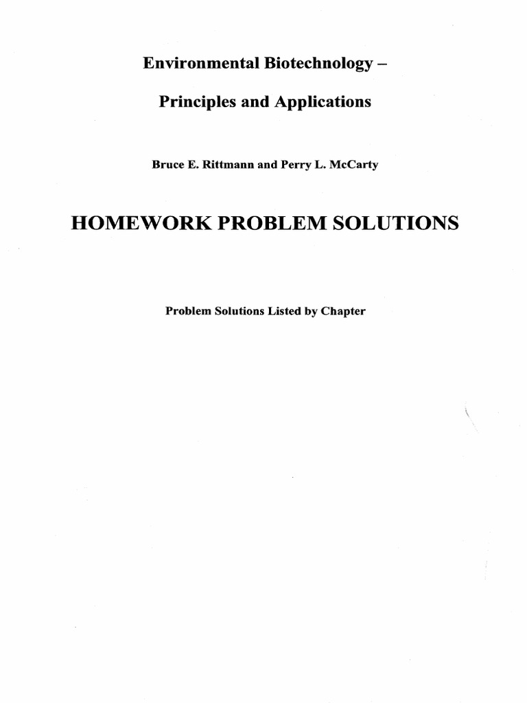 bruce e rittmann and perry l mccarty homework problem solutions rh es scribd com solutions manual to accompany environmental biotechnology principles and applications Food Biotechnology and Consumer