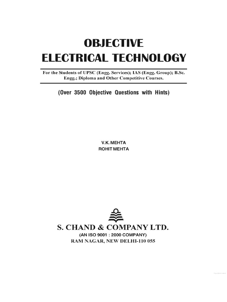 objective electrical technology by v k mehta pdf