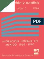Migración Interna Evaluación y Análisis 1960 - 1970 INEGI