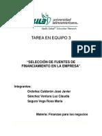 """Tarea en Equipo_S3_TE_Fuentes de Financiamiento en La Empresa."""""""
