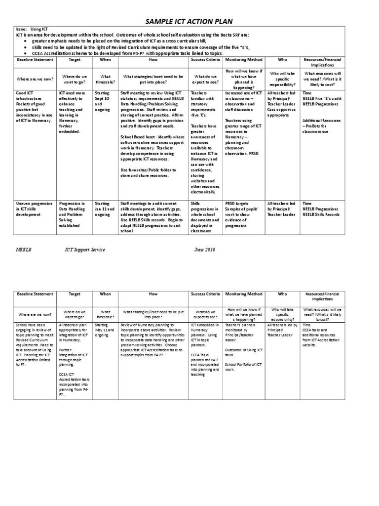 Sample ICT Action Plan.doc | Educational Technology | Teachers