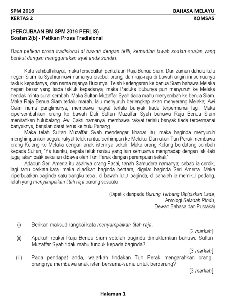 Koleksi Soalan Komsas 2 C Percubaan Spm 2016 Se Malaysia
