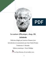 Aristote Physique Livre 2