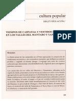Tiempos de Carnaval y Vestidos de Fiesta en Los Valles Del Mantaro y Yanamarca