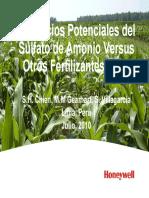 Beneficios Potenciales Del Sulfato de Amonio Versus Otros Fertilizantes n y s