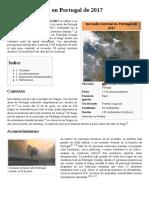 Incendio Forestal en Portugal de 2017