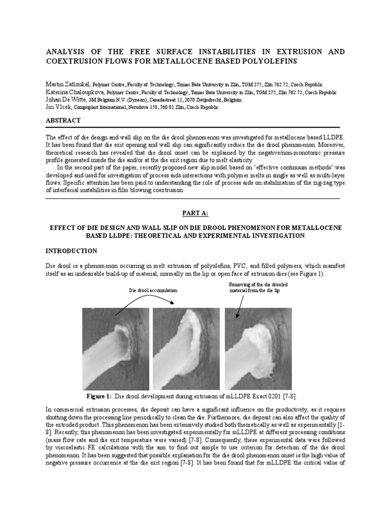 Analysis of the Free Surface Instabilities in Extrusion and