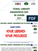REPORT ON NATIONAL LIBRARY AWARENESS DAY IN USARB 2017