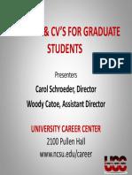 Grad Stu RESUMES and CVs 10.05.09