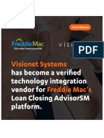 Visionet Systems' CD2UCD Named Verified Technology Integration Vendor by Freddie Mac for Uniform Closing Dataset Deadline