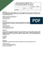 AVALIAÇÃO DE GEOGRAFIA - 2º ANO DO ENSINO FUNDAMENTAL 1 - 2º BIMESTRE - FAMÍLIA