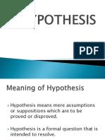 Hypotheses Presentation