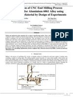 Optimization of CNC End Milling Process Parameters for Aluminium 6061 Alloy using Carbide Tool Material by Design of Experiments