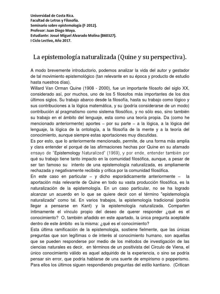 Epistemologia Naturalizada Quine Pdf