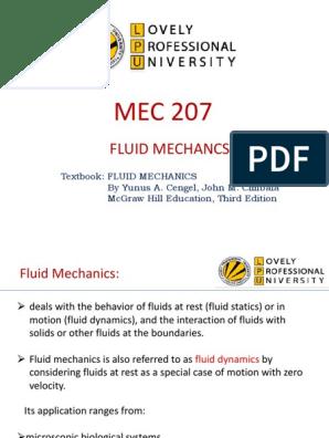 16474_Fluid Mechanics upto MTE ppt | Buoyancy | Continuum Mechanics