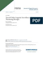 Toward Online Linguistic Surveillance of Threatening Messages