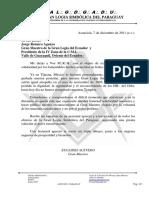 3.- Carta de Apoyo de Paraguay