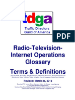 Radio-Television-Internet Operations Glossary of Terms & Definitions
