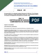 RAC  21 - Certificación de aeronaves y componentes de aeronaves.pdf