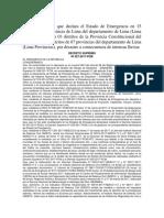 Decreto Supremo Que Declara El Estado de Emergencia en 15 Distritos de La Provincia de Lima Del Departamento de Lima