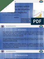 Consideraciones Sobre El Esquema de Objetivo Inflación Explícito