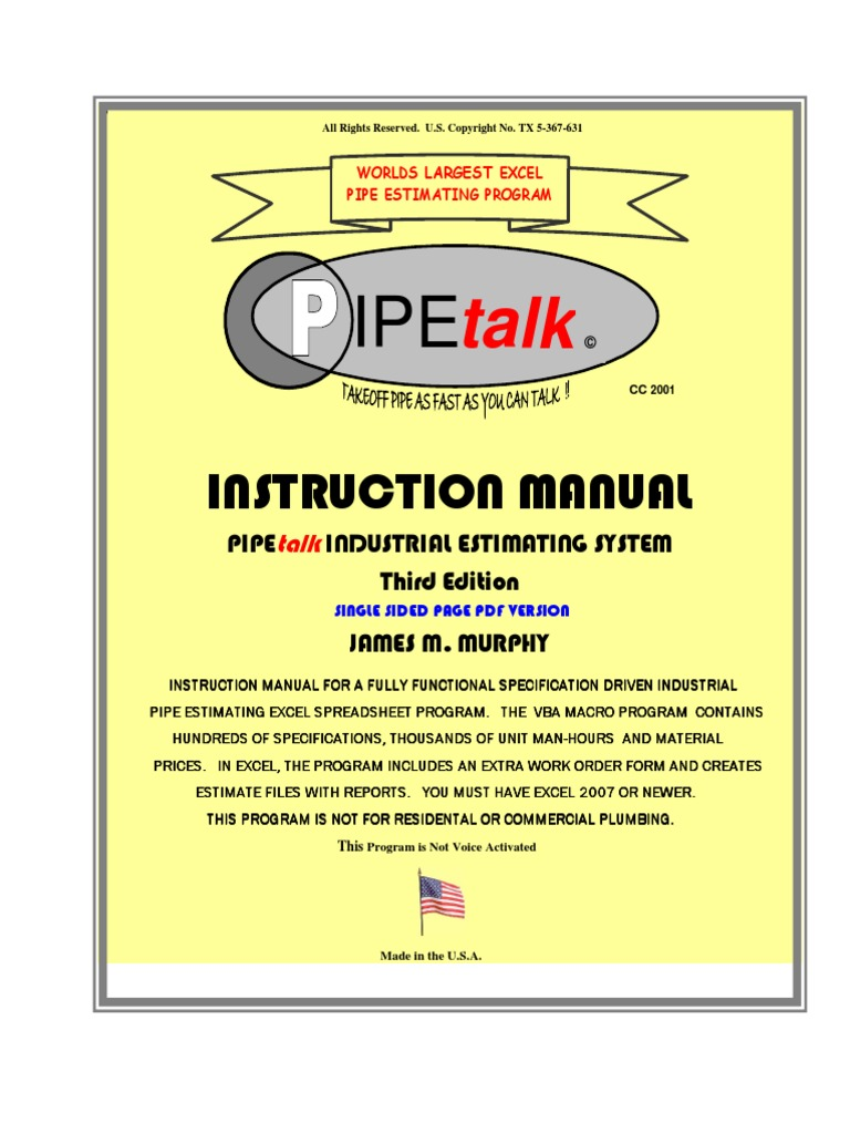 Pipe talk instruction manual rev 1 single sided microsoft excel pipe talk instruction manual rev 1 single sided microsoft excel spreadsheet publicscrutiny Images