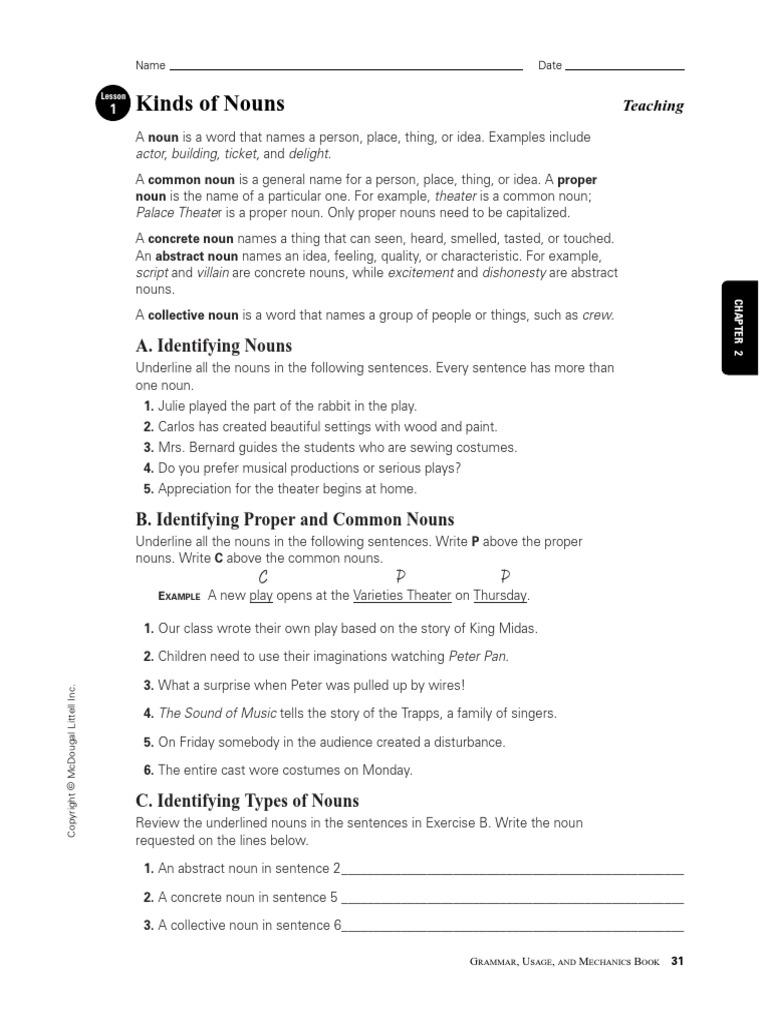 grammar chapter 2 nouns.pdf | Object (Grammar) | Grammatical Number