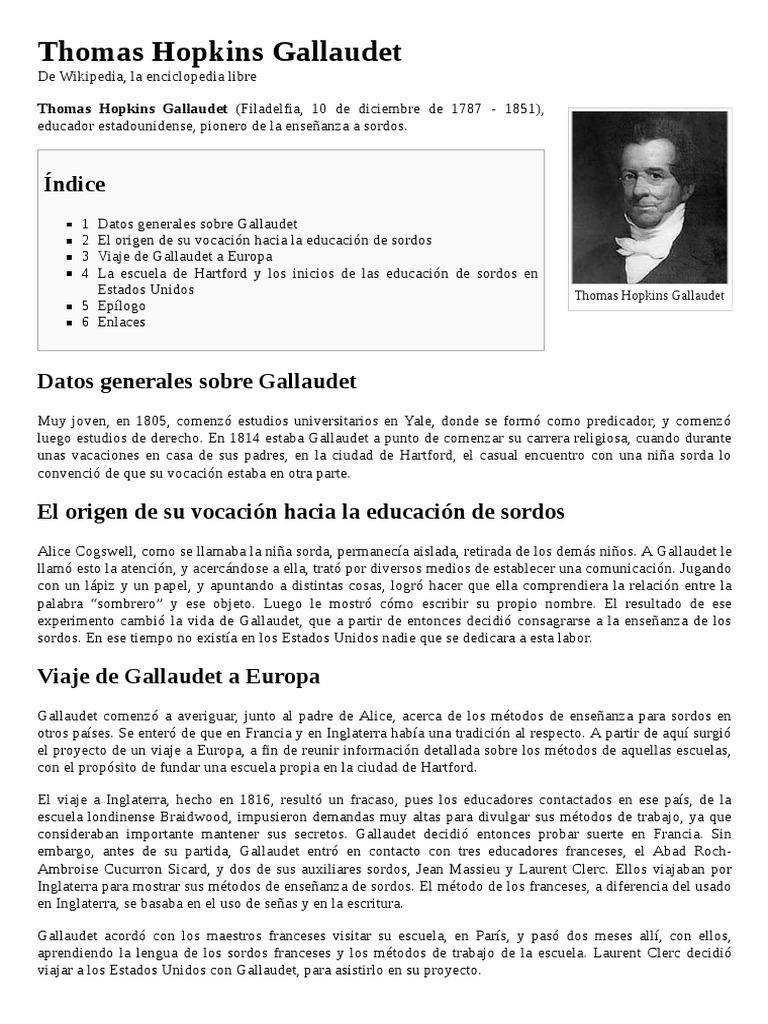 Thomas Hopkins Gallaudet   Política (general)   Política