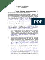 Bible - Cc Doctrinal Questionnaire i