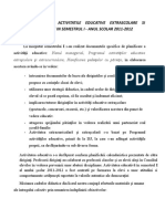 Raport Privind Activitatile Educative Extrascolare Si Extracurrriclare in Semestrul i 2