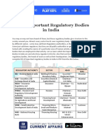 List of Important Regulatory Bodies in India in PDF