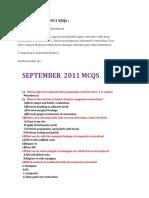 2011 SEPTEMBER  MCQ+SAQs